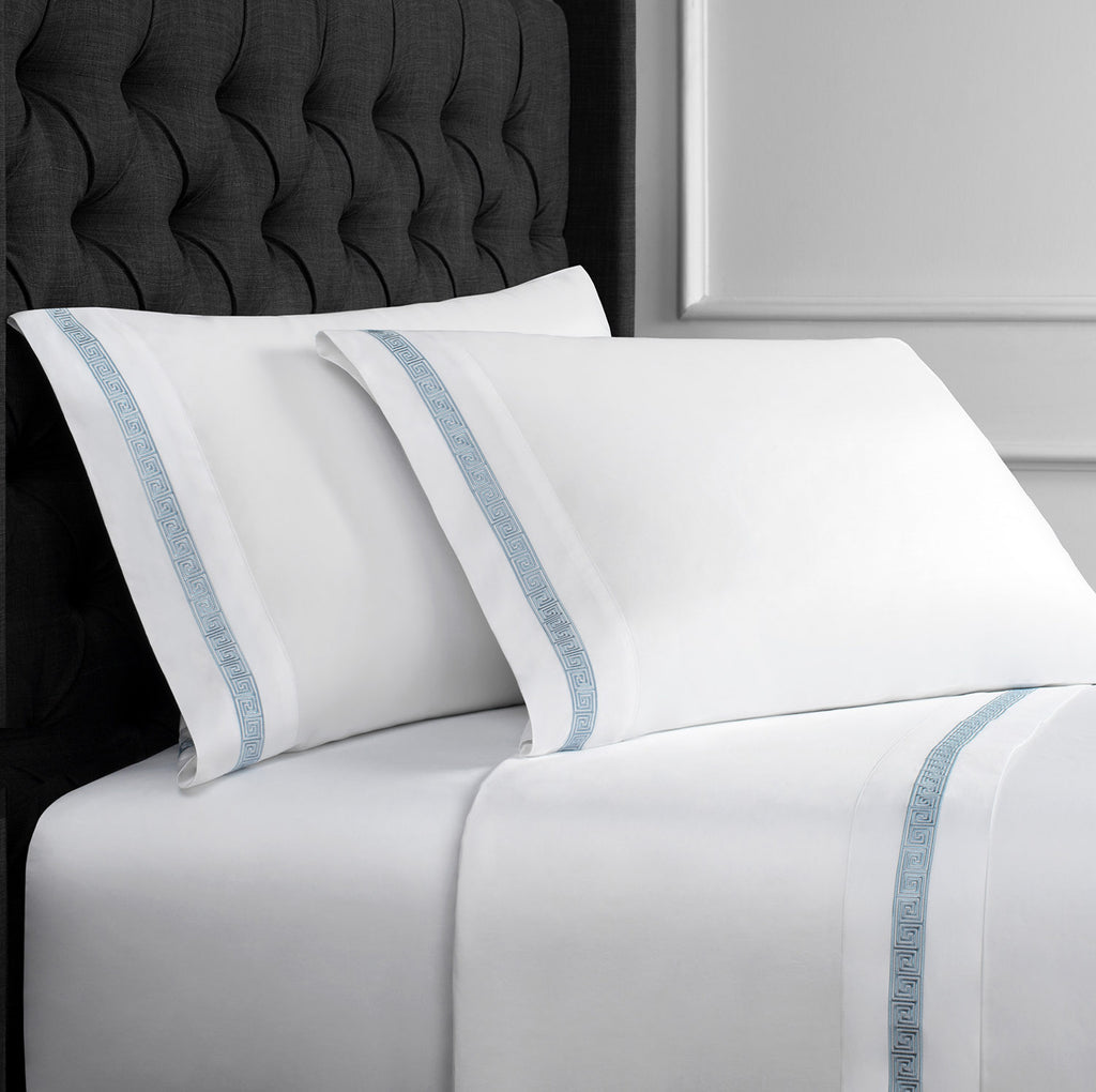 600 THREAD COUNT GREEK KEY EMBROIDERED SHEET SET