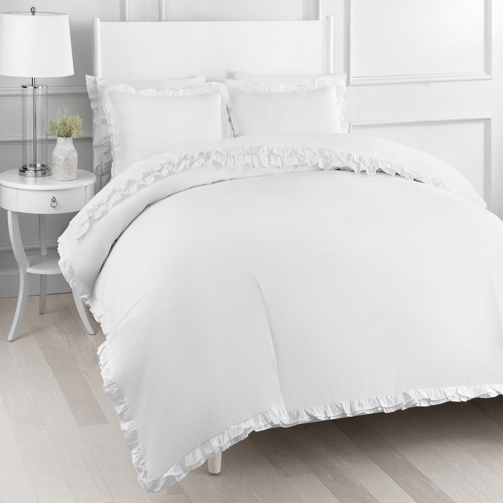 Double Ruffle Percale Duvet Set