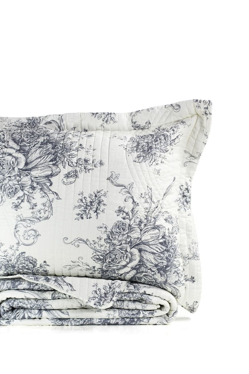 Toile Quilt Set - Grey