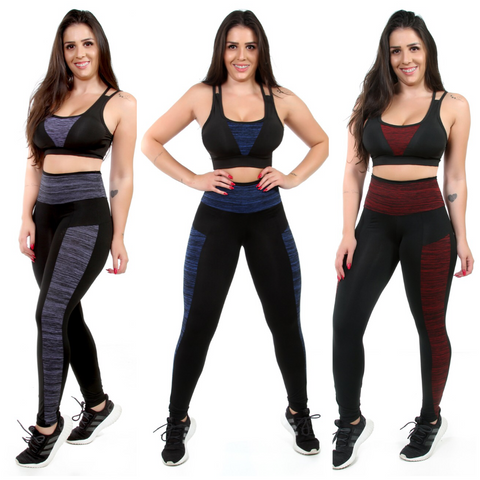 Kit 3 Calças Leggings Fitness Com bolso (5273578242199)