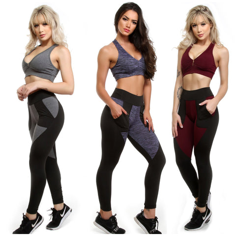 Kit 6 Calças Leggings Fitness Com bolso (4890287472685)