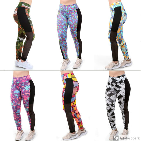 Kit 6 Calças Leggings Fitness Estampadas (4249930334253)