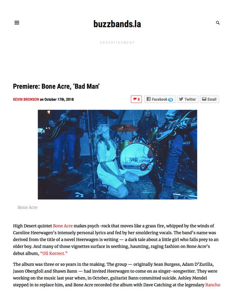 Bone Acre reviewed on Buzzbands.la