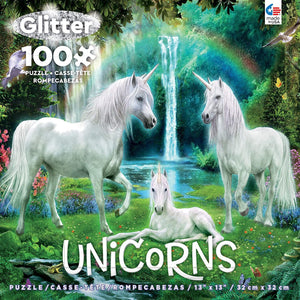100 Piece Puzzle Unicorns Waterfall Glitter