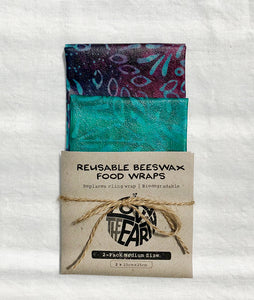 2 pack medium beeswax wraps, batik collection, reusable food wraps