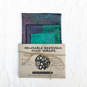 3 pack beeswax wraps, batik collection, reusable food wraps