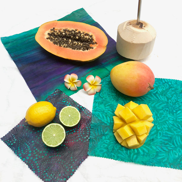 3-pack beeswax wraps batik fabric