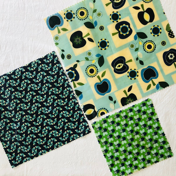 3 PACK RETRO APPLES & BEES BEESWAX WRAPS FABRIC V1
