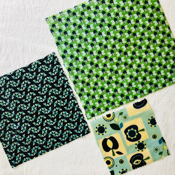 3 PACK RETRO APPLES & BEES BEESWAX WRAPS FABRIC V2