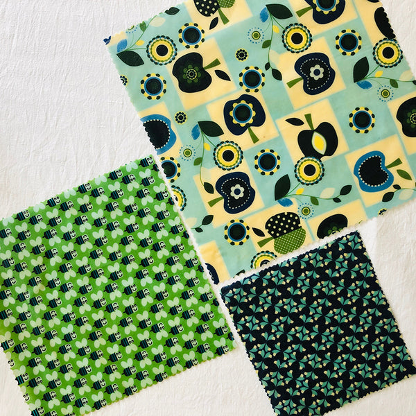 3 PACK RETRO APPLES & BEES BEESWAX WRAPS FABRIC V3
