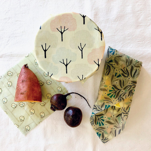 3PK beeswax wraps winter garden collection