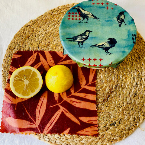'Australian Bush' 2-pack beeswax wraps small size