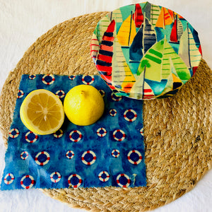 'By the Seaside' 2-pack beeswax wraps small size