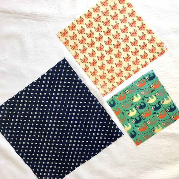3-PK FOX & SLOTH BEESWAX WRAPS LUNCHBOX KIT FABRIC