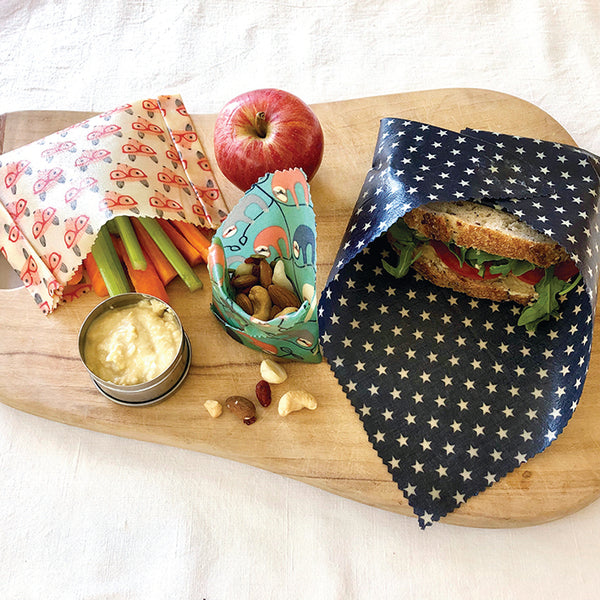 3-PK FOX & SLOTH BEESWAX WRAPS LUNCHBOX KIT INSITU
