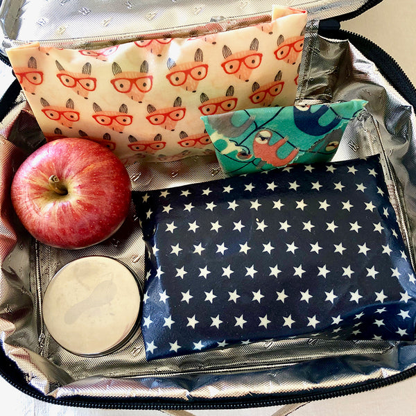 3-PK FOX & SLOTH BEESWAX WRAPS LUNCHBOX KIT PACK