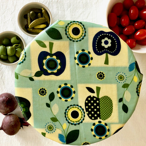 Retro Apples Large Size Beeswax Wraps