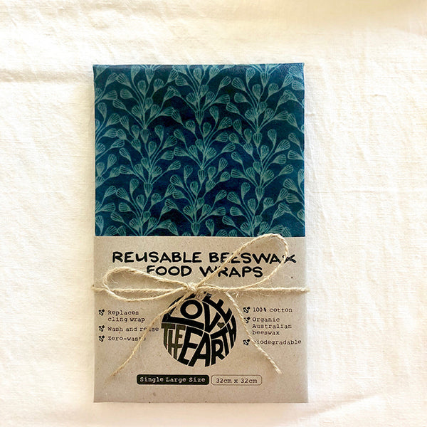 Large size beeswax wrap, blue garden fabric