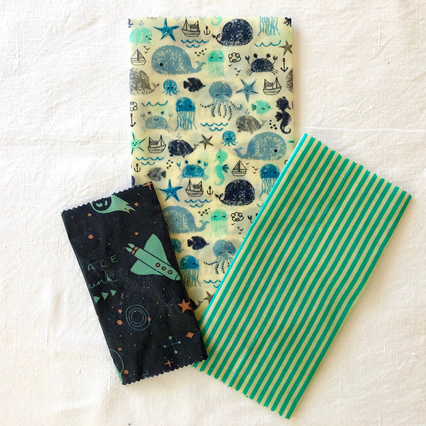3-PK SEA & SPACE BEESWAX WRAPS LUNCHBOX KIT FABRIC