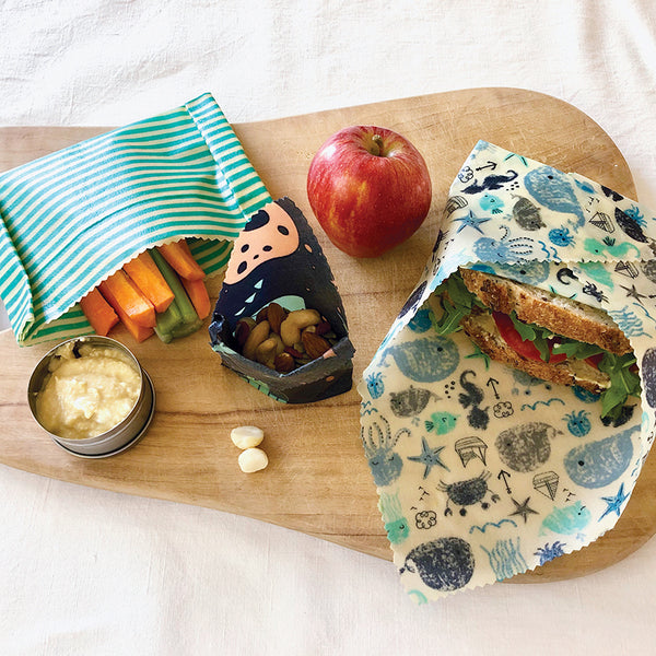 3-PK SEA & SPACE BEESWAX WRAPS LUNCHBOX KIT INSITU