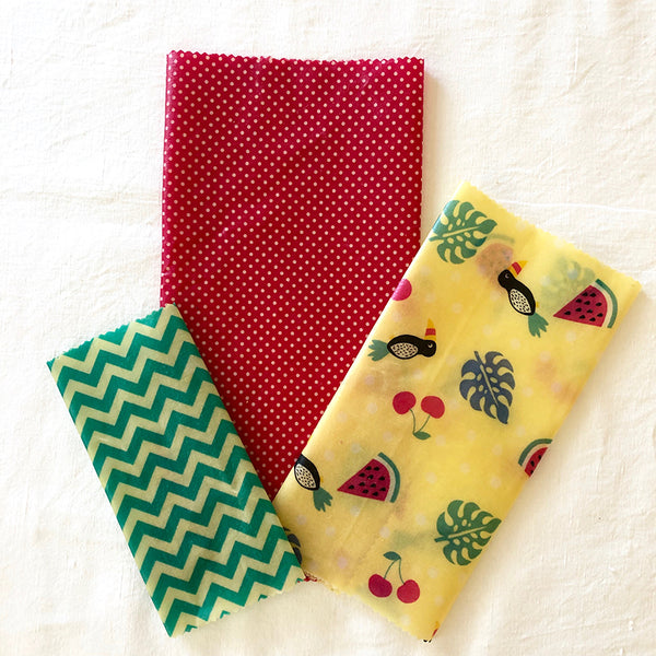 3-PK TROPICANA BEESWAX WRAPS LUNCHBOX KIT FABRIC