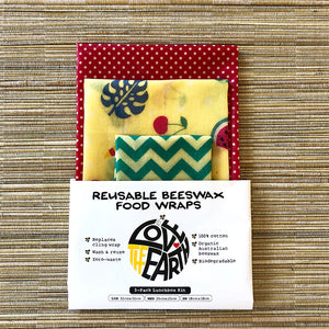 3-PK TROPICANA BEESWAX WRAPS LUNCHBOX KIT PACK