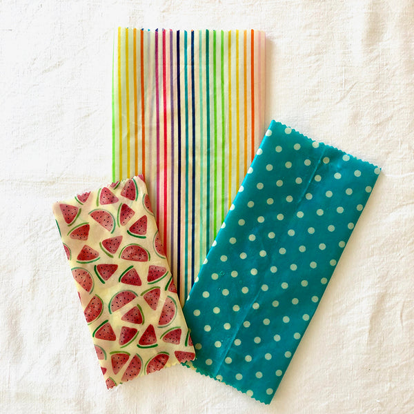 3-PK TUITTI FRUITTI BEESWAX WRAPS LUNCHBOX KIT FABRIC