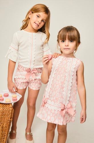 Girls Pink Bow Shorts Set