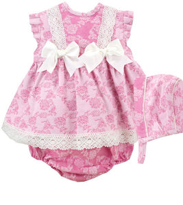 Baby Girls 3 Piece Double Bow Dress Set