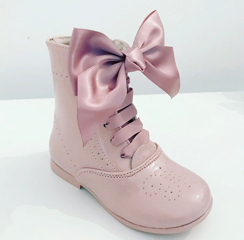 Bow Patent Boots - Pink