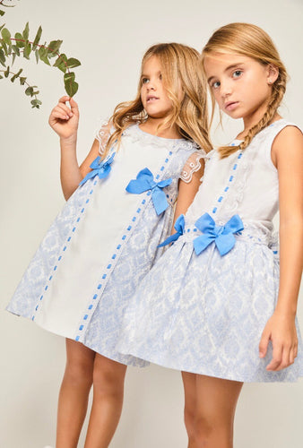 Girls Double Bow Baby Blue Dress.