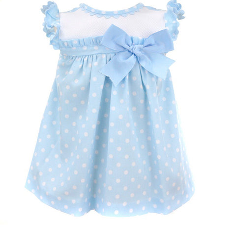 Girls Baby Blue Polka Dot Dress with Bow