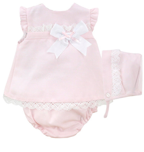 Baby Girls 3 Piece Dress Set with Bonnet