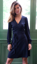 Navy blue water lily dress