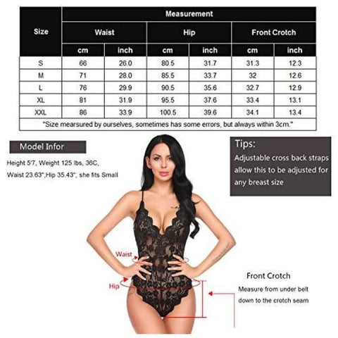 Avidlove Women Teddy Lingerie One Piece Babydoll Bodysuit Romper,Small,Black