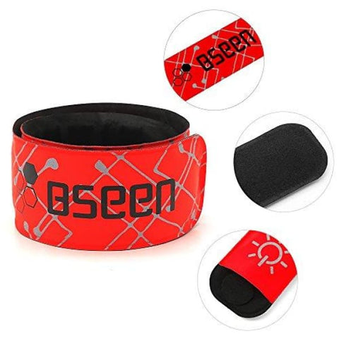 BSEEN LED Armband, 2ed Generation LED Slap Bracelets, Patented Heat Sealed Glow in The Dark Water/Sweat Resistant Glowing Sports Wristbands for Running, Cycling, Hiking, Jogging (Red-DesignⅠ)