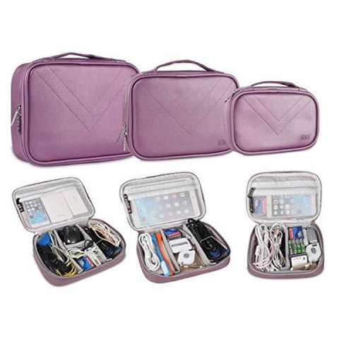 BUBM Multi-Functional 3pcs/Set (S/M/L in One) Waterproof Travel Packing Cord Electronic Organizer Case Cable Sleeves Handbag (Purple)