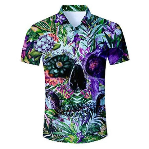 Fanient Juniors 3D Printed Dress Shirt Mens Hawaiian Shirts Casual Red Floral Tropical Print Button Down Aloha Short Sleeves Shirt
