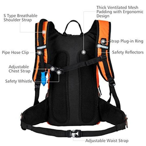 Hiking Insulated Hydration Backpack Pack with 2.5L BPA FREE Water Bladder