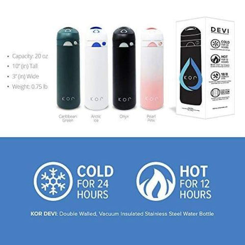 KOR Devi Insulated Stainless Steel Bottle | Keeps Beverages Cold 24+ Hours/Hot 12+ Hours