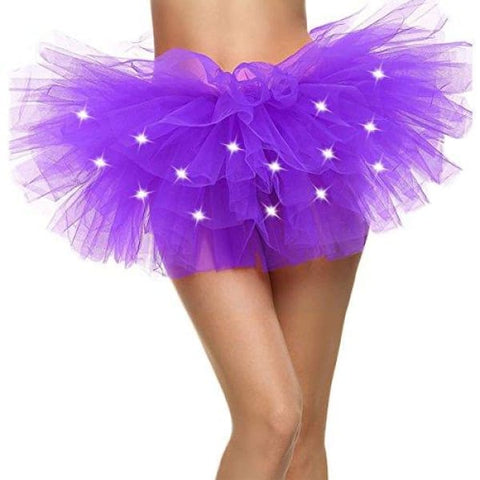 LED Tu tu Light Up Neon Tutu Skirt for Party Stage Costume Show Nightclub,Purple
