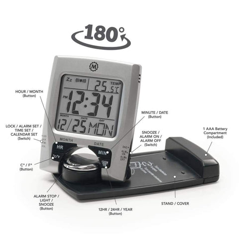 Marathon CL030023 Travel Alarm Clock with Calendar & Temperature