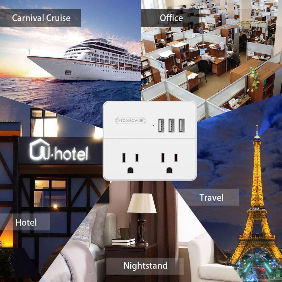 NTONPOWER Travel Power Strip 2 Outlets 3 USB Charging Ports