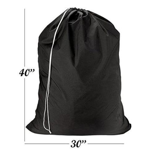 Nylon Laundry Bag - Locking Drawstring Closure and Machine Washable. These Large Bags will Fit a Laundry Basket or Hamper and Strong Enough to Carry up to Three Loads of Clothes. (Black)