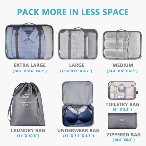 Packing Cubes 7 Set Lightweight Travel Luggage Organizers with Laundry Bag or Toiletry Bag (Grey)