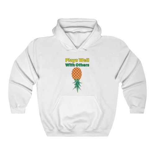 Upside Down PineapplePlays Well With OthersUnisex Heavy Blend Hooded Sweatshirt - White / L - Hoodie