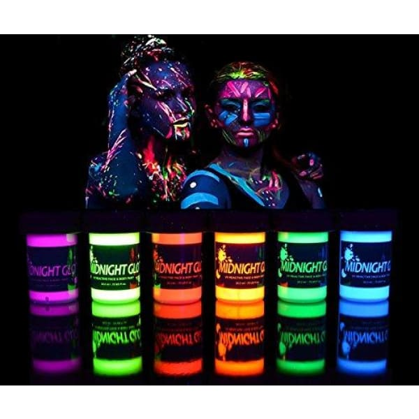 UV Neon Face & Body Paint Glow Kit (6 Bottles 0.75 oz. Each) - Top Rated Blacklight Reactive Fluorescent Paint - Safe, Washable, Non-Toxic, By Midnight Glo