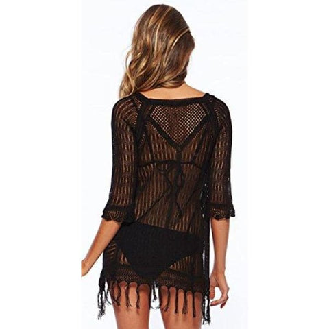 Wander Agio Beach Tops Sexy Perspective Cover Dresses Bikini Cover-ups Net Tassels Black