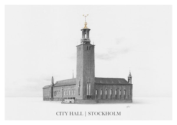 City Hall | Stockholm - Illustration - Black and White (on sale)