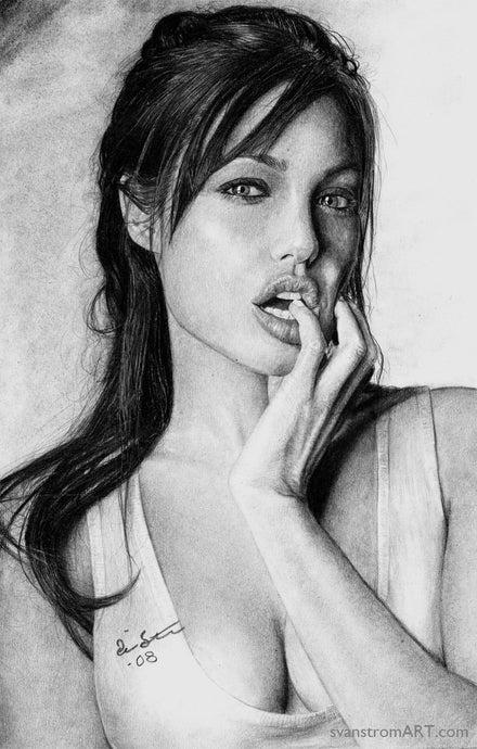 Angelina Jolie - Original drawing - 2008